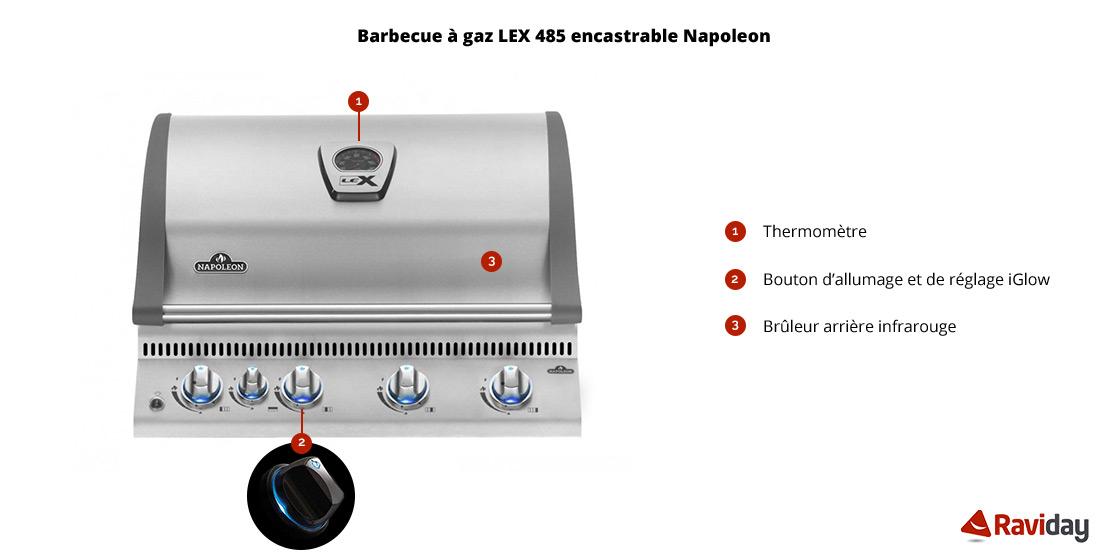 Barbecue à gaz Napoleon BILEX 485 encastrable caractéristiques