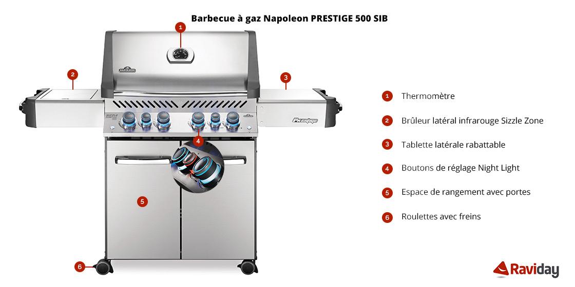 Caractéristiques Barbecue à gaz Napoleon PRESTIGE P500 Inox