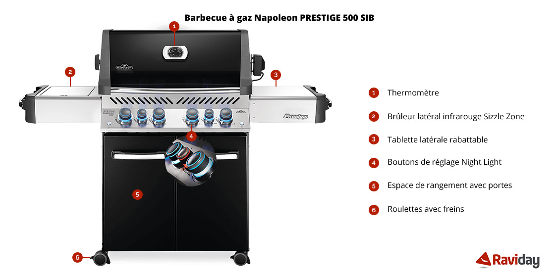 Caractéristiques Barbecue à gaz Napoleon PRESTIGE P500 Noir