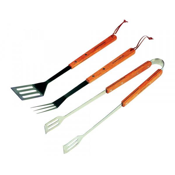 Set ustensiles 3 pièces Campingaz Luxe avec manches en bois