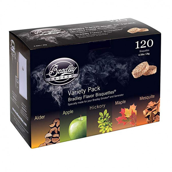Kit de 120 bisquettes de fumage Bradley Smoker, 5 saveurs