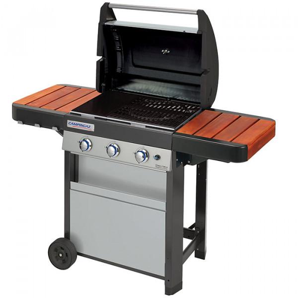 Barbecue à gaz Campingaz Class 3 WLX couvercle ouvert bois