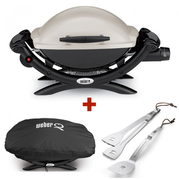 Barbecue à gaz Weber Q 1000 Titanium + housse + ustensiles