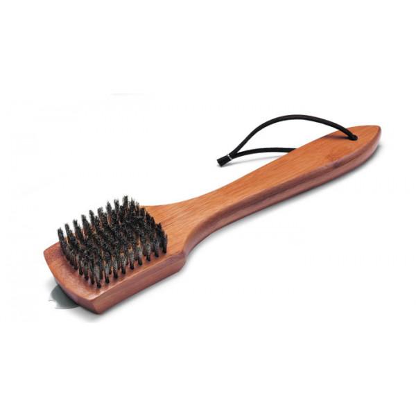 Brosse de nettoyage Weber - poignée bambou, 30 cm, poils acier inoxydable
