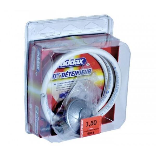 Kit détendeur (flexible 150 cm - Validité 5 ans + détendeur butane 28 Mbar + tétine + colliers de serrage)