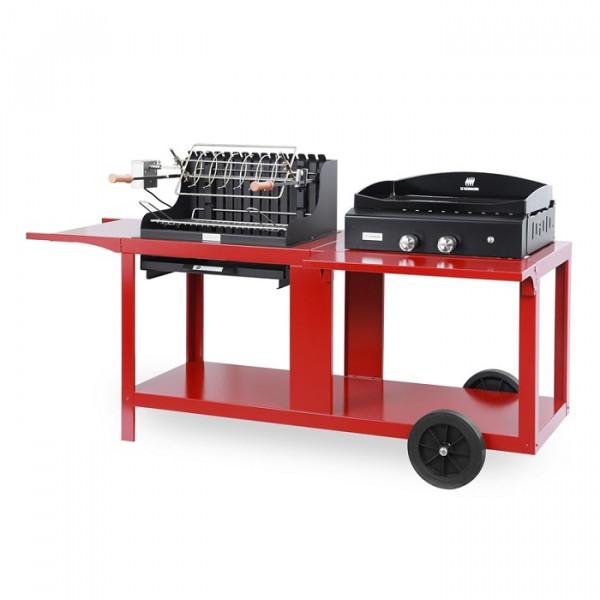 Barbecue Mendy + Plancha Baia 260 Le Marquier sur chariot mixte rouge basque