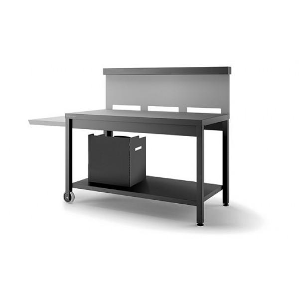 Table roulante crédence ouverte Forge Adour - Noir et gris