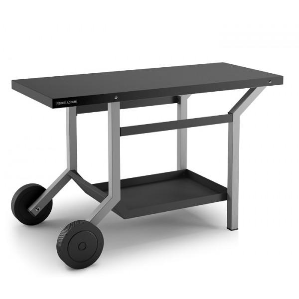 Table roulante en acier pour plancha Forge Adour - Noir et gris clair mat