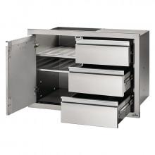 Module encastrable 3 tiroirs + 1 porte pour cuisine d'extérieur Napoleon