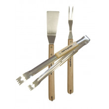 Set pince + fourchette + spatule inox et bois Cook'In Garden