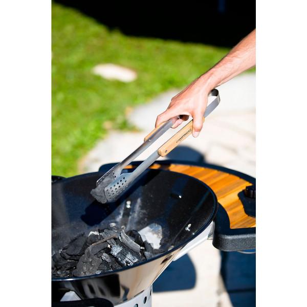 Pince à viande ou à charbon en inox avec manche en bois