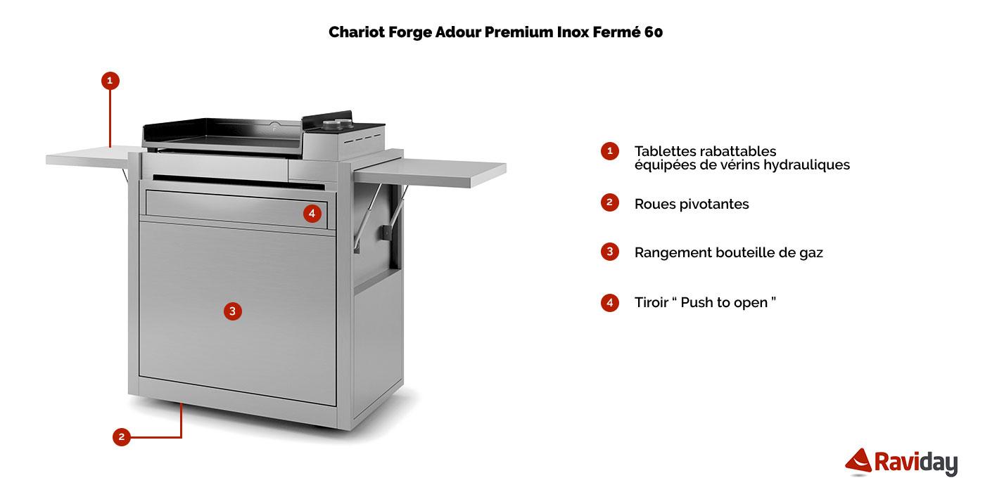 Chariot Plancha Premium Inox 60