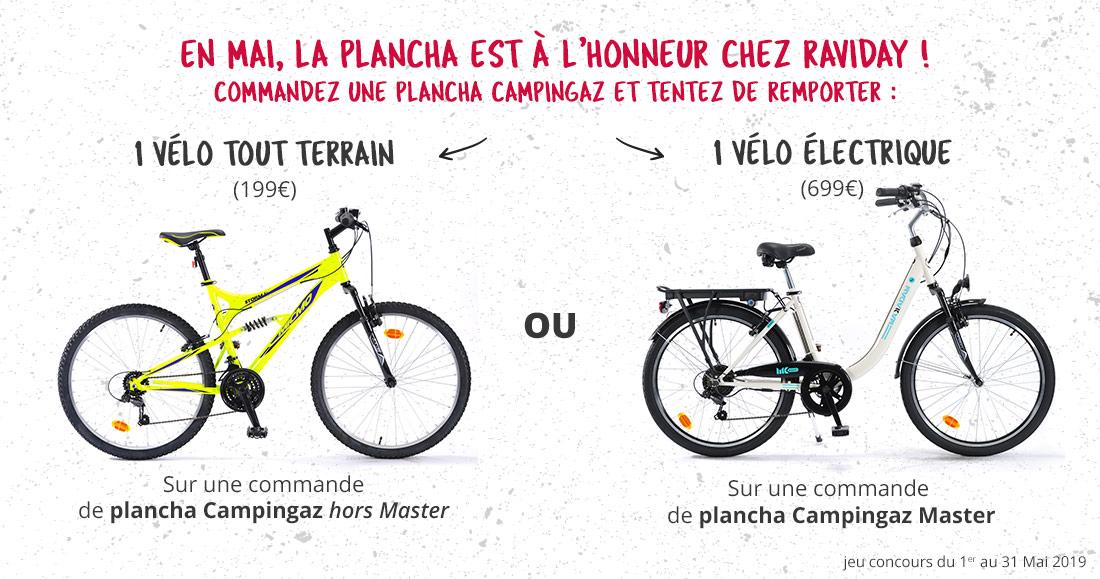 Concours Campingaz - A gagner un vélo électrique ou un VTT avec Raviday Barbecue et Campingaz